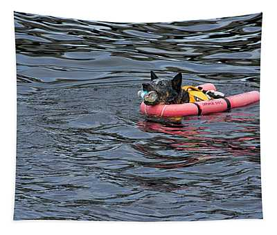 Be Prepared - Service Dog Swimming In A Life Vest Tapestry