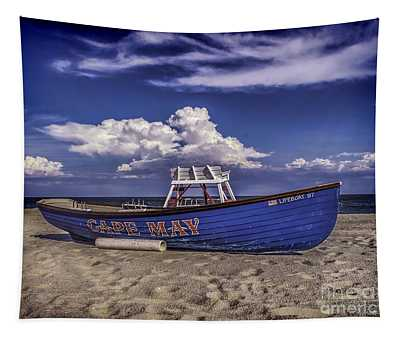 Beach And Lifeboat Tapestry