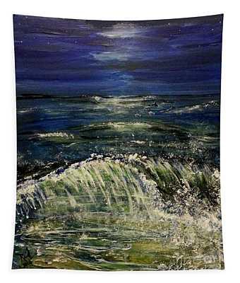 Beach At Night Tapestry