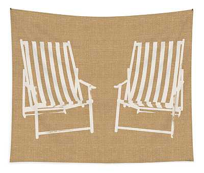 Beach Chairs On Burlap- Art By Linda Woods Tapestry