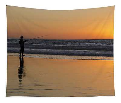 Beach Fishing At Sunset Tapestry