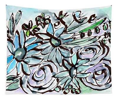 Beach Glass Flowers 2- Art By Linda Woods Tapestry