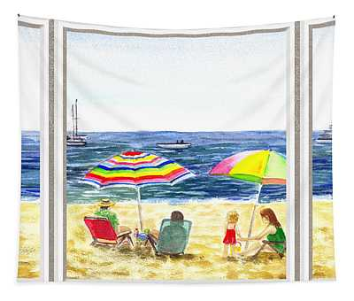Beach House Window Tapestry