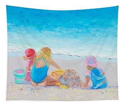 Beach Painting - Building Sandcastles Tapestry