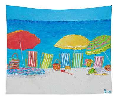 Beach Painting - Deck Chairs Tapestry