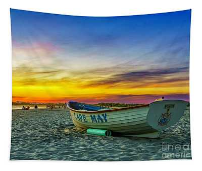 Beach Sunset In Cape May Tapestry