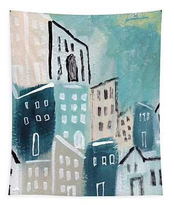 Beach Town- Art By Linda Woods Tapestry