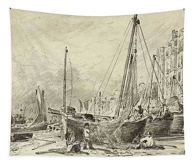 Beached Fishing Boats With Fishermen Mending Nets On The Beach At Brighton, Looking West Tapestry