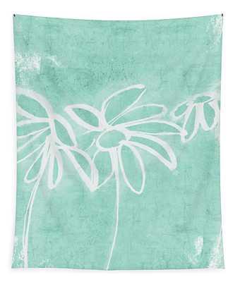 Beachglass And White Flowers 3- Art By Linda Woods Tapestry