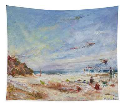 Beachy Day - Impressionist Painting - Original Contemporary Tapestry