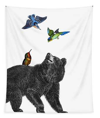 Bear With Birds Antique Illustration Tapestry