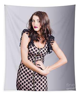 Beautiful Brunette Girl Wearing Retro Zipper Dress Tapestry