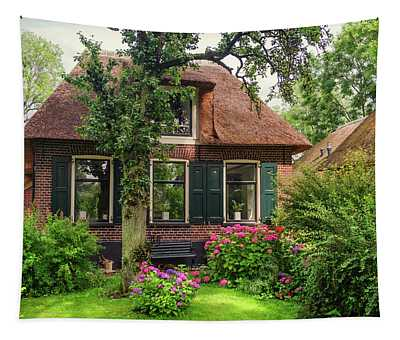 Beautiful Cottage With Green Garden In Giethoorn. The Netherlands Tapestry