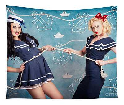 Beautiful Navy Pinup Girls On Marine Background Tapestry