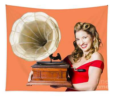 Beautiful Woman With Gramophone Isolated On White Tapestry
