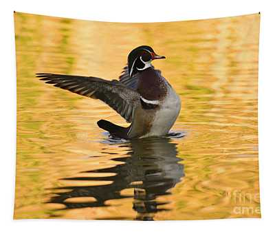 Wood Duck Sunset  Tapestry