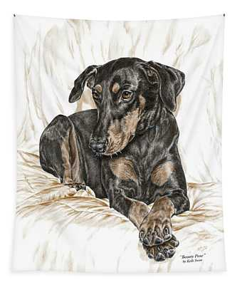 Beauty Pose - Doberman Pinscher Dog With Natural Ears Tapestry