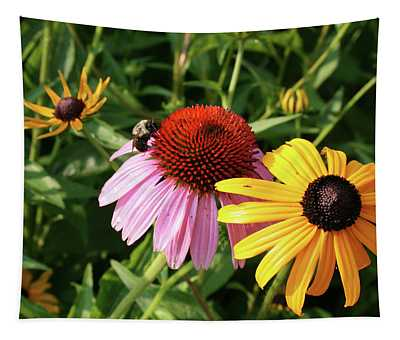 Bee On The Cone Flower Tapestry