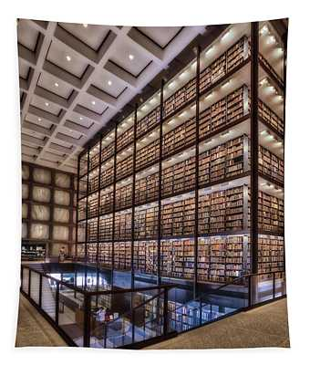 Tapestry featuring the photograph Beinecke Rare Book And Manuscript Library by Susan Candelario