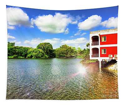 Belize River House Reflection Tapestry