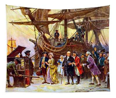 Ben Franklin Returns To Philadelphia Tapestry