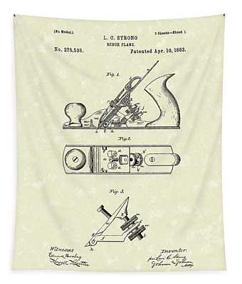 Bench Plane 1883 Patent Art Tapestry