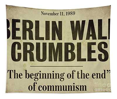 Berlin Wall Newspaper Headline Tapestry