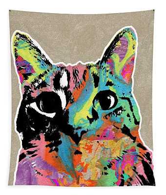 Best Listener Kitty- Pop Art By Linda Woods Tapestry