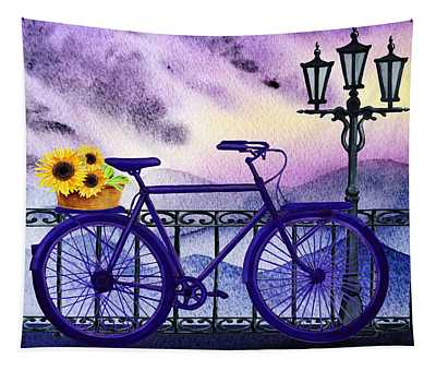 Blue Bicycle And Sunflowers By Irina Sztukowski  Tapestry