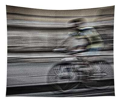 Bicycle Rider Abstract Tapestry