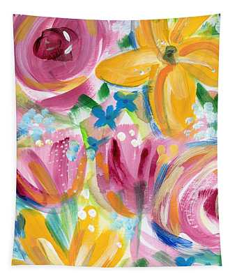 Big Colorful Flowers - Art By Linda Woods Tapestry