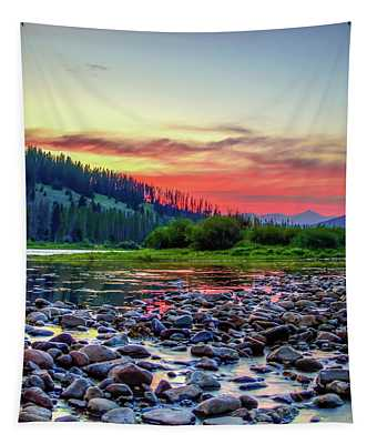 Big Hole River Sunset Tapestry