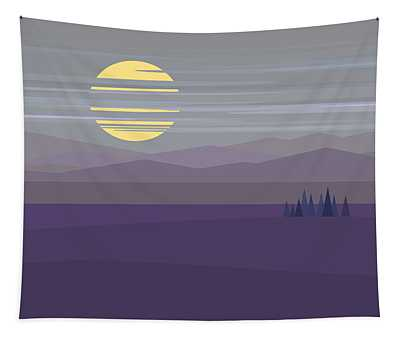 Big Moon At Twilight Tapestry by Val Arie