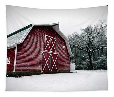 Big Red Barn In Snow Tapestry