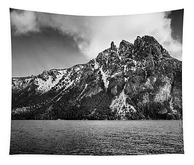 Big Snowy Mountain In Black And White Tapestry