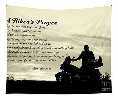 Biker's Prayer Tapestry