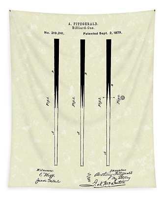 Billiard Cue 1879 Patent Art Tapestry