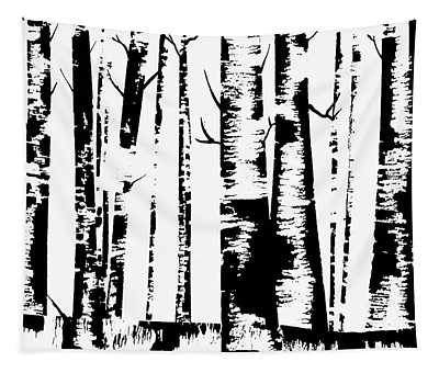Birch Forest Black Tapestry
