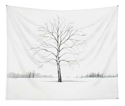 Birch Tree Upon The Winter Plain Tapestry