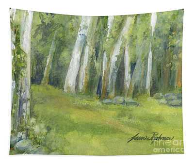 Birch Trees And Spring Field Tapestry