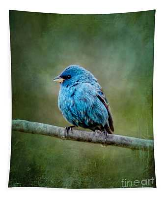 Bird In Blue Indigo Bunting Ginkelmier Inspired Tapestry