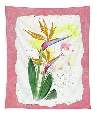 Bird Of Paradise Watercolor Splashes Tapestry
