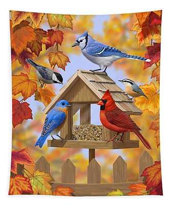 Bird Painting - Autumn Aquaintances Tapestry