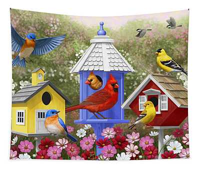 Bird Painting - Primary Colors Tapestry