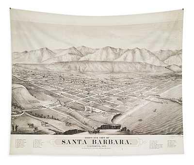Birds Eye View Of Santa Barbara California 1877 Tapestry