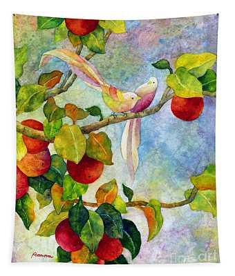 Birds On Apple Tree Tapestry