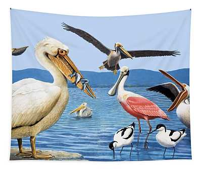 Birds With Strange Beaks Tapestry