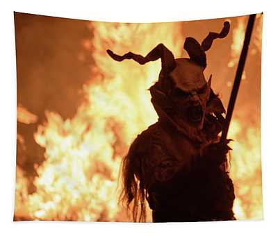 Birth From Fire And Smoke. Krampus, Christmas Devils. Tapestry