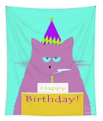 Birthday Lilac Cat Tapestry