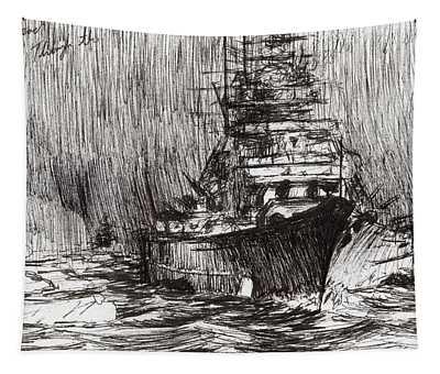 Bismarck Off Greenland Tapestry